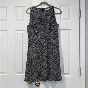 Tory Burch Sleeveless Pattern Black White Dress 8